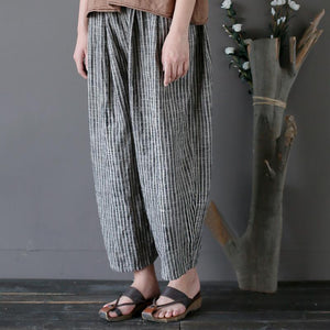 wide leg linen striped cropped harem pants