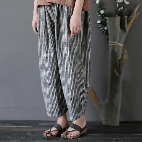 Haley wide leg linen striped cropped harem pants