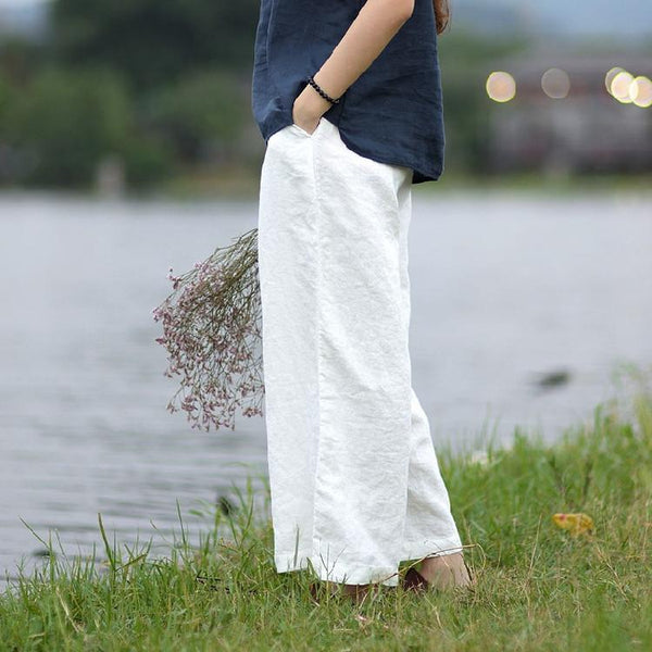 Yoga linen loose wide leg pants