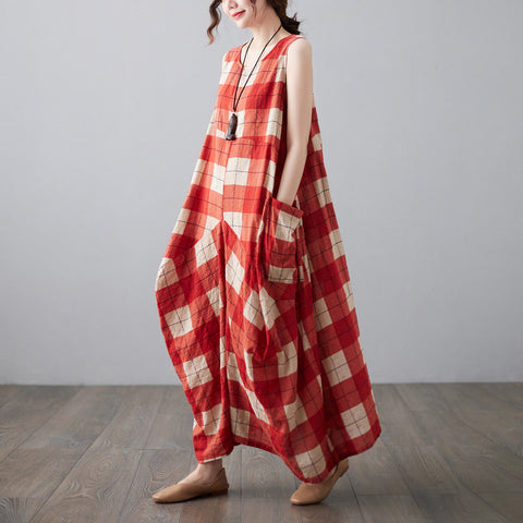 Cade maxi sleeveless plaid irregular loose linen dress