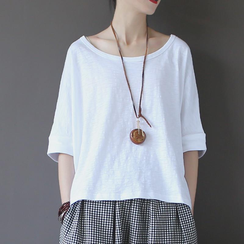 Olivia White Cotton High low T-shirt