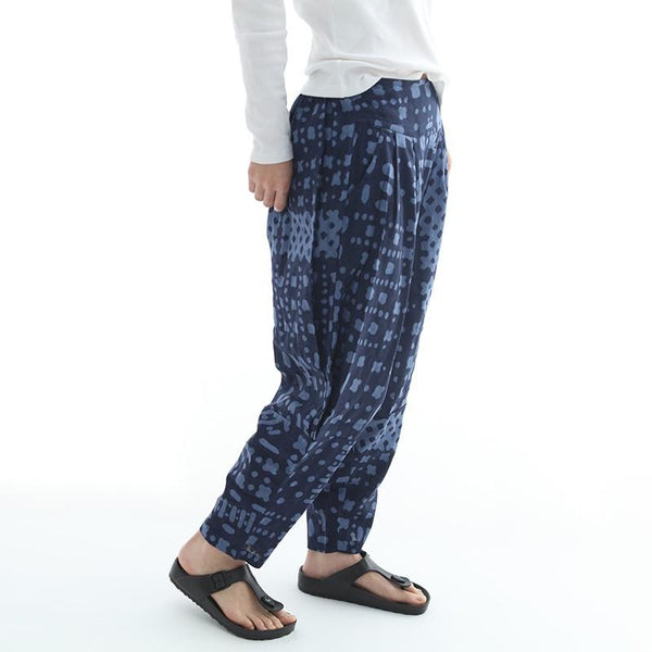 Sue print cotton mid waist loose Harlan turnip pants