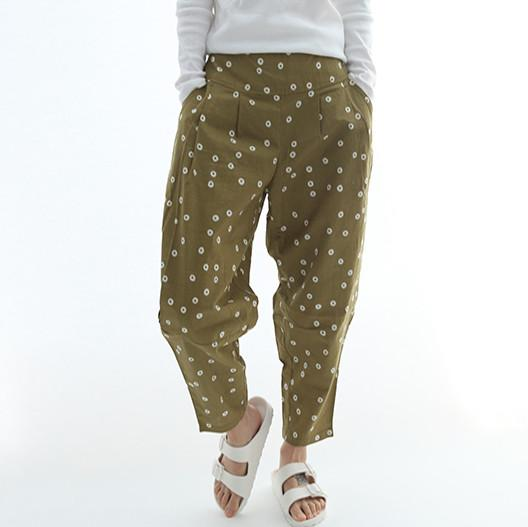 print cotton mid waist loose Harlan turnip pants