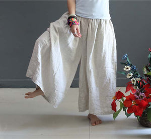 Summer Linen Wide Leg Loose Plus Size Culottes Causal Zen Yoga Pants