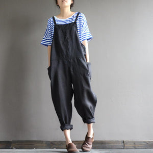 Harry loose natural ramie bib pants casual overalls