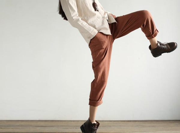 linen casual loose trousers turnip pants