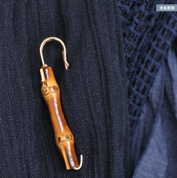 Bamboo mental wood brooch