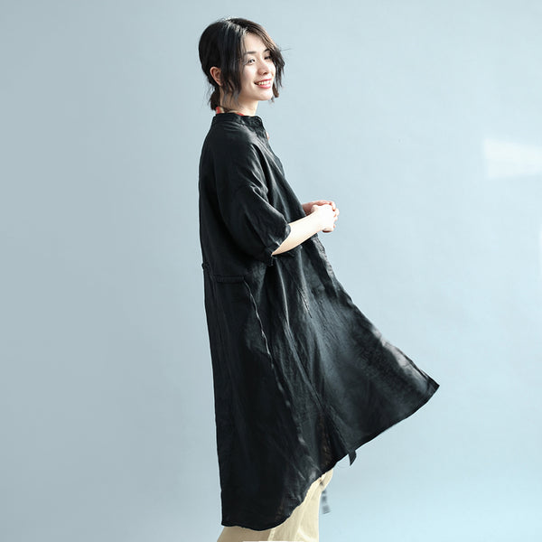 Classic Loose Linen one-piece long jacket boyfriend shirt dress