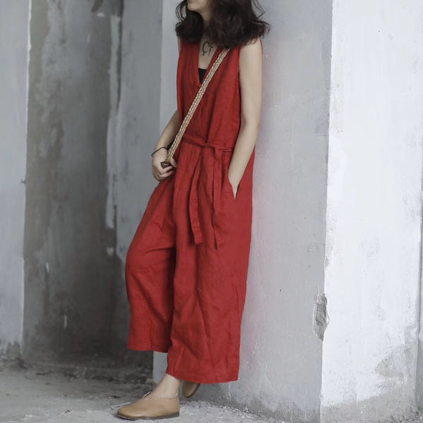 Organic linen solid loose casual overalls belt jumpsuit