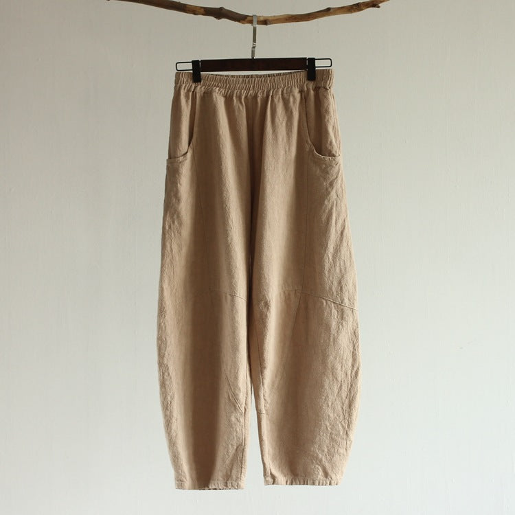 Loose fit Elastic Band Linen Harem Pants