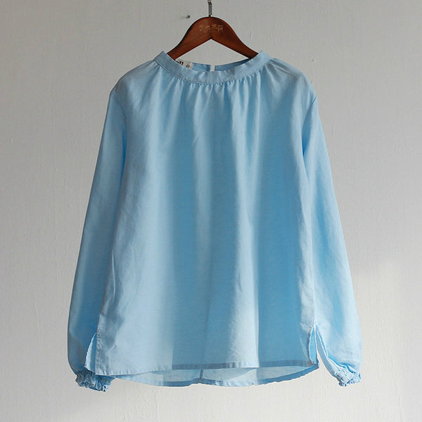 Spring summer women's cotton linen vintage ruffle blouse