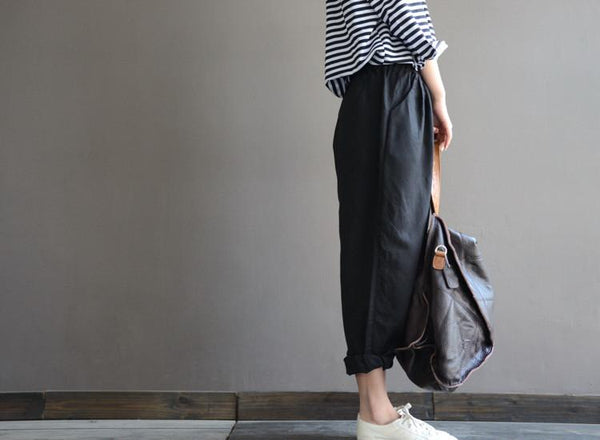 Anne black Linen elastic waist loose turnip pants