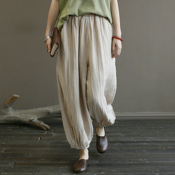 Retro Loose Linen Baggy Pants Women Ankle Length Trousers