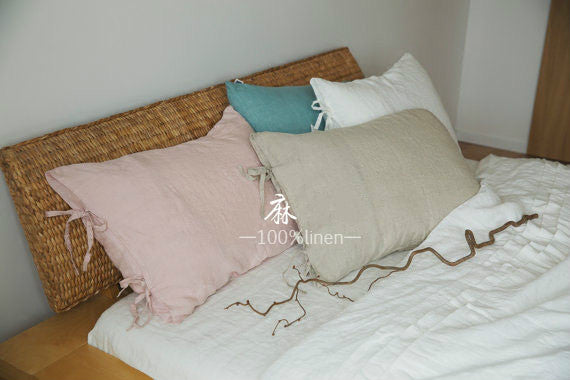 Simple pure linen soft washed bandage solid color pillowcase cover
