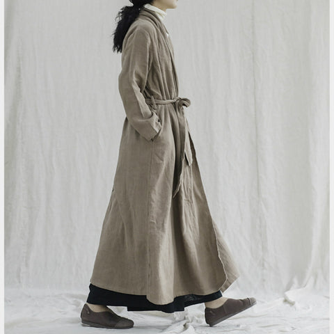 Women's mid-length linen cardigan long coat
