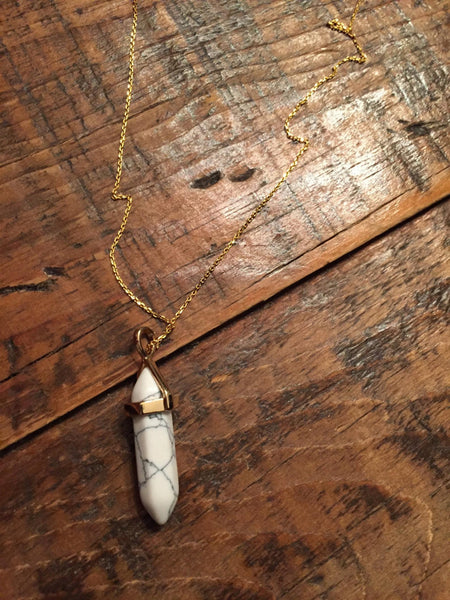 Crystal Gemstone Pointed Pendant Necklace
