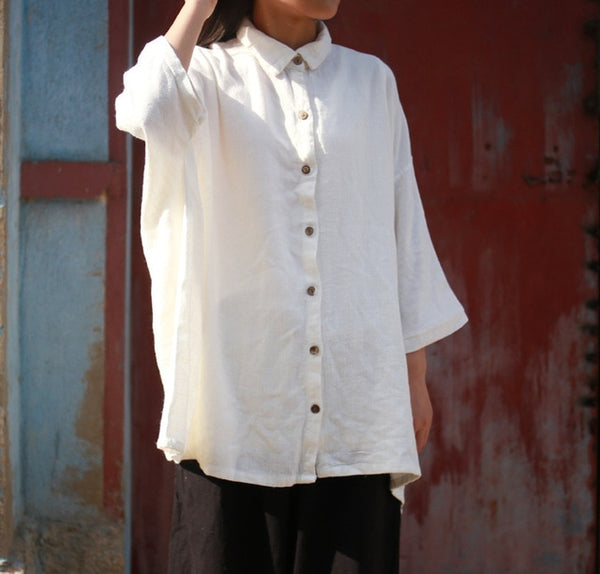 White Linen loose shirts blouse casual - Linen big sale