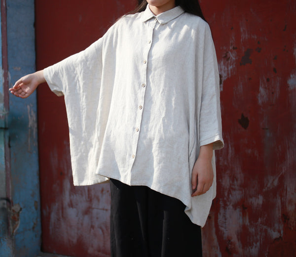 White Linen Loose Shirts Blouse Retro Shirt