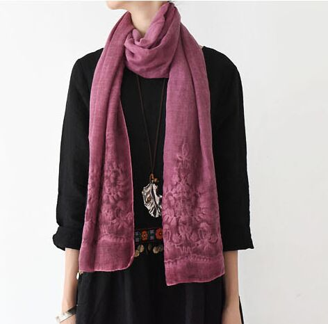 Original design linen cotton all-match luxury embroidery floral scarf