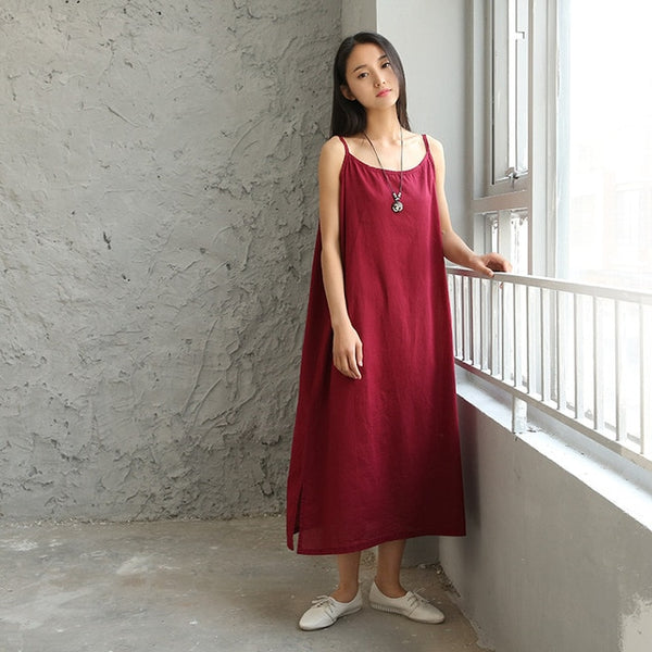 Linen Cotton Women's Midi Organic Nightdress Underdress