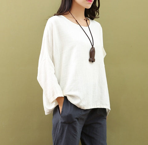 Shirts Loose Batwing Sleeve Linen Tops - Linen big sale