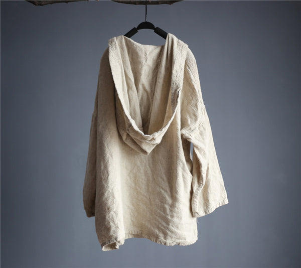 New Spring Women Cotton Linen Loose Long sleeves Jacket