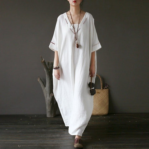 Batwing Embroidery Maxi Dress robe - Linen big sale