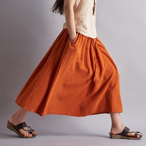 Boho Linen Cotton Long Skirts - Linen big sale