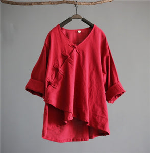 Zen Women Shirt Linen Top Loose Kimono Blouse