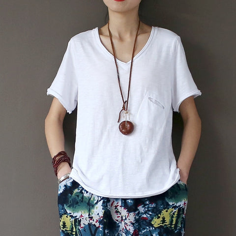 Summer white tee wash cotton women T-shirt