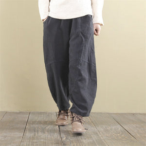 Wide Leg Pants Elastic Waist Linen Trouser Women Pants - Linen big sale