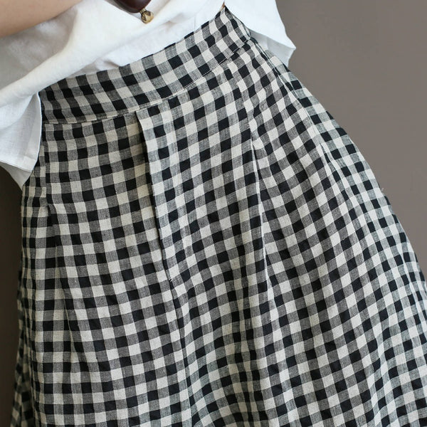 Wide Leg Casual Women 100% Linen Plaid Print Holiday Pants - Linen big sale