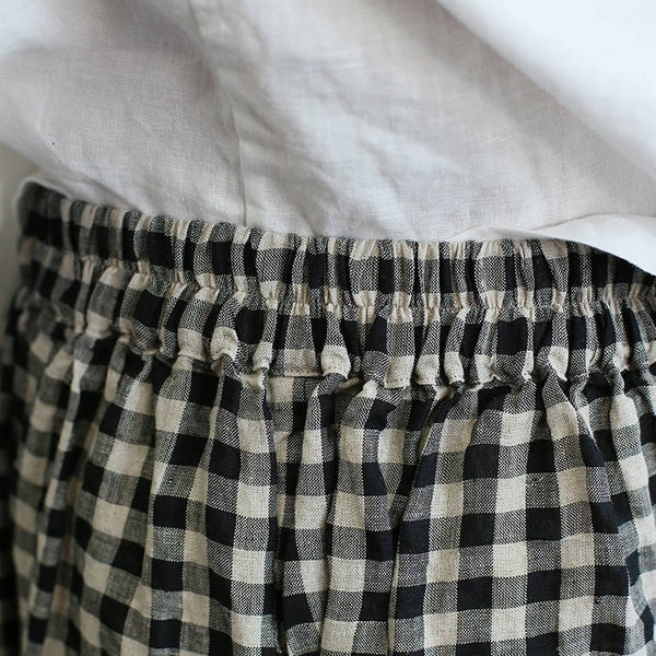 Wide Leg Casual Women 100% Linen Plaid Print Holiday Pants