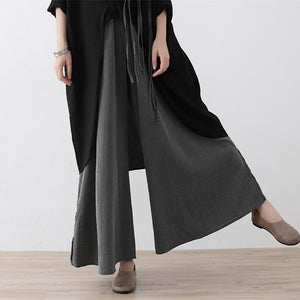 2019 ladies fashion luxury elastic high waist Trouser wide leg pants - Linen big sale