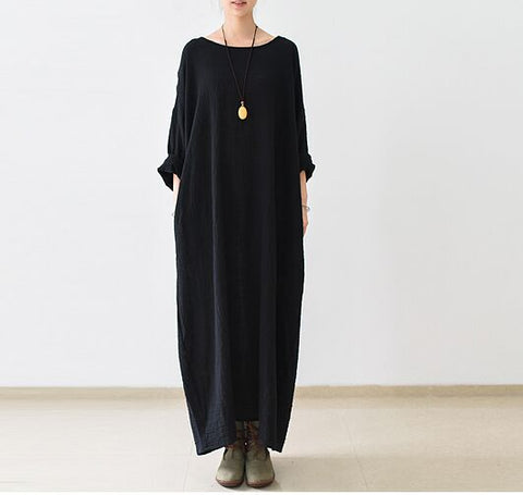 New arrival 2019 Spring Fashion Women Black Maxi dress - Linen big sale