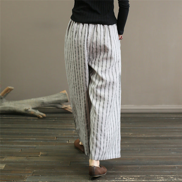 Linen Palazzo Pants Striped Loose Wide Leg long Trousers