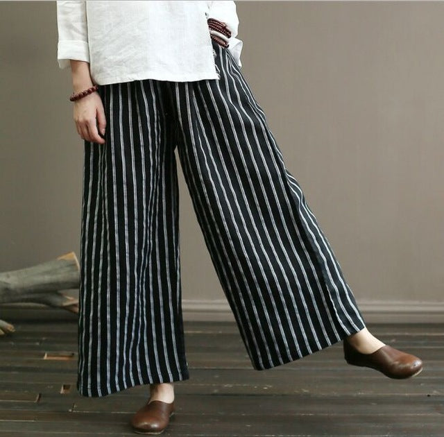 High Quality Linen Casual Women Elegant Striped Loose Long Trousers
