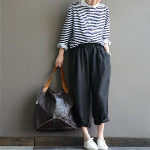 Black Linen loose pants
