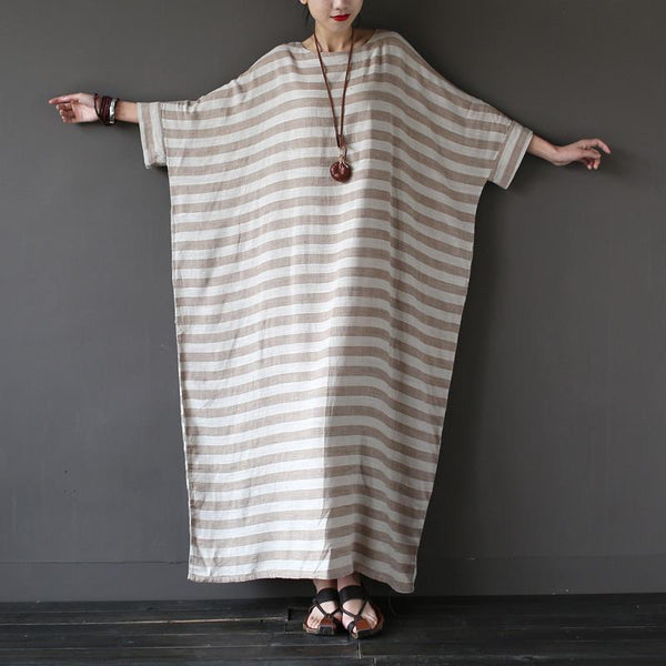 Bali Linen Striped Robe Maxi Dress