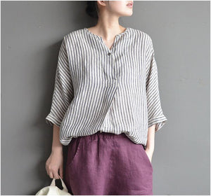 striped cotton linen V-neck loose shirt