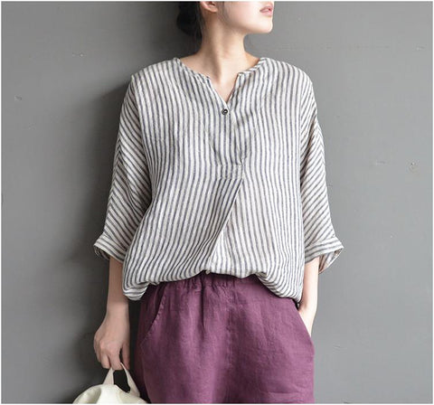 Agnesi striped cotton linen V-neck loose shirt
