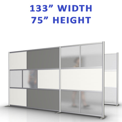 "133"" width by 75"" height office partitions products collection"
