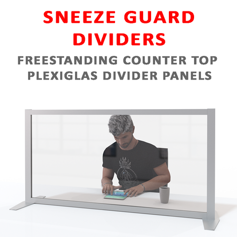 Sneeze Guards & Counter top dividers in clear Plexiglas collection of products
