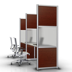 modern office desk divider partition with cherry wood grain panels