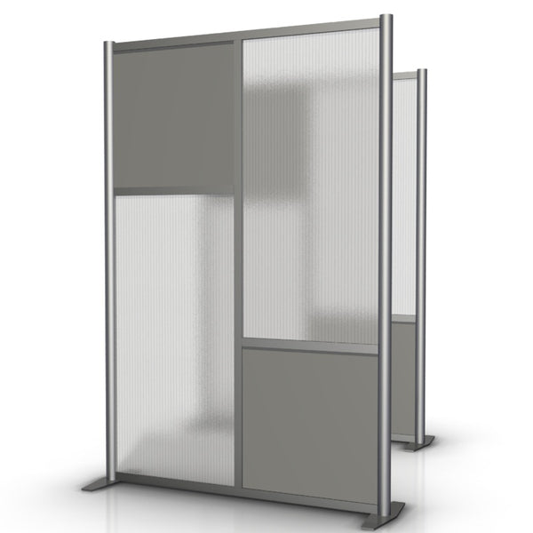 "Modern Office Partition 51"" wide by 75"" tall, Gray & Translucent Panels"