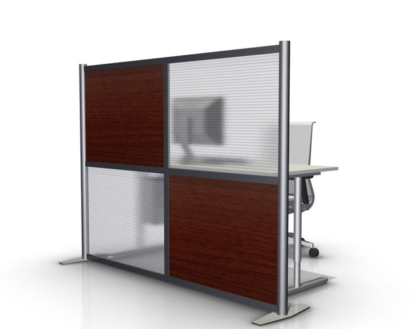Modern Office Partition with Cherry Wood Grain Panels
