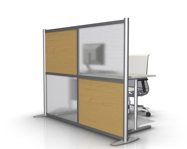 Modern Office Partition with Maple Wood Grain Panels