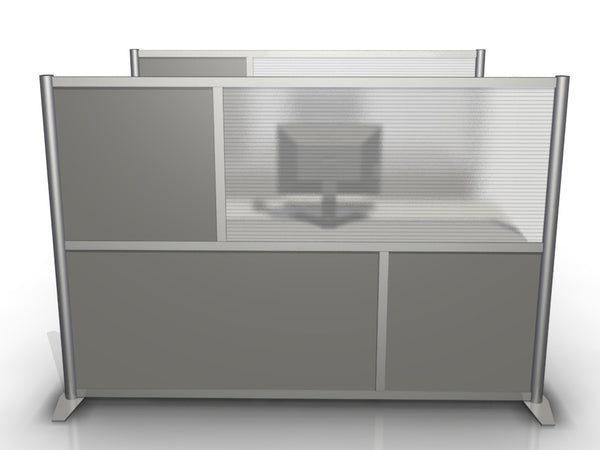 "75"" wide by 51"" high Office Partition with Gray and Translucent Panels"