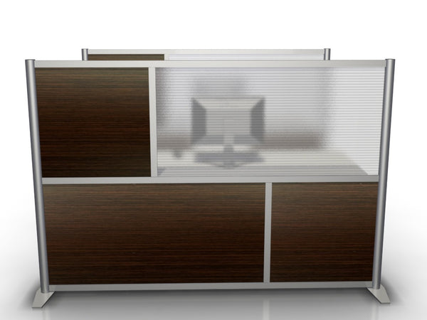 "75"" wide by 51"" high Office Partition with Dark Brown Wood Grain and Translucent Panels"