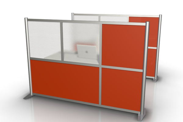 "75"" wide x 51"" h Modern Office Partition - Orange & Translucent Panels"